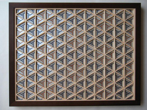 Kumiko Art Panel Bisyamon Silver/Blue/Brown