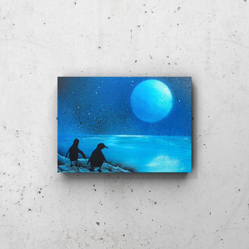 Penguin brothers canvas panel landscape painting