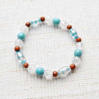 Striped Indian bead bracelet light blue