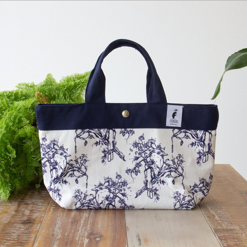 "Original design Canvas mini tote bag ""Bird and leaves"" Navy"