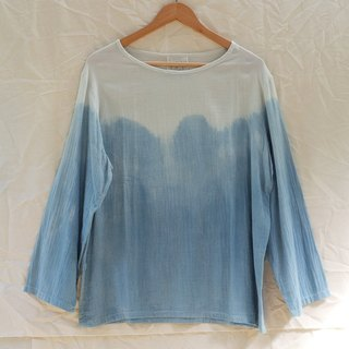 linnil: indigo long-sleeve shirt / natural dye / cotton