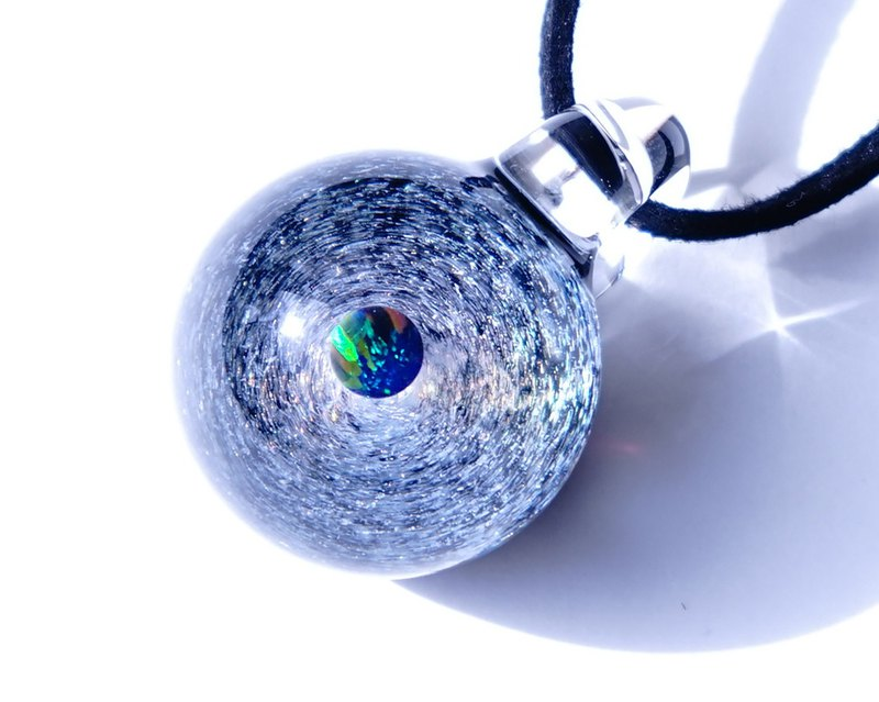 Delicate nebula and space world. Dichroic glass pendant with green opal space [Free Shipping]