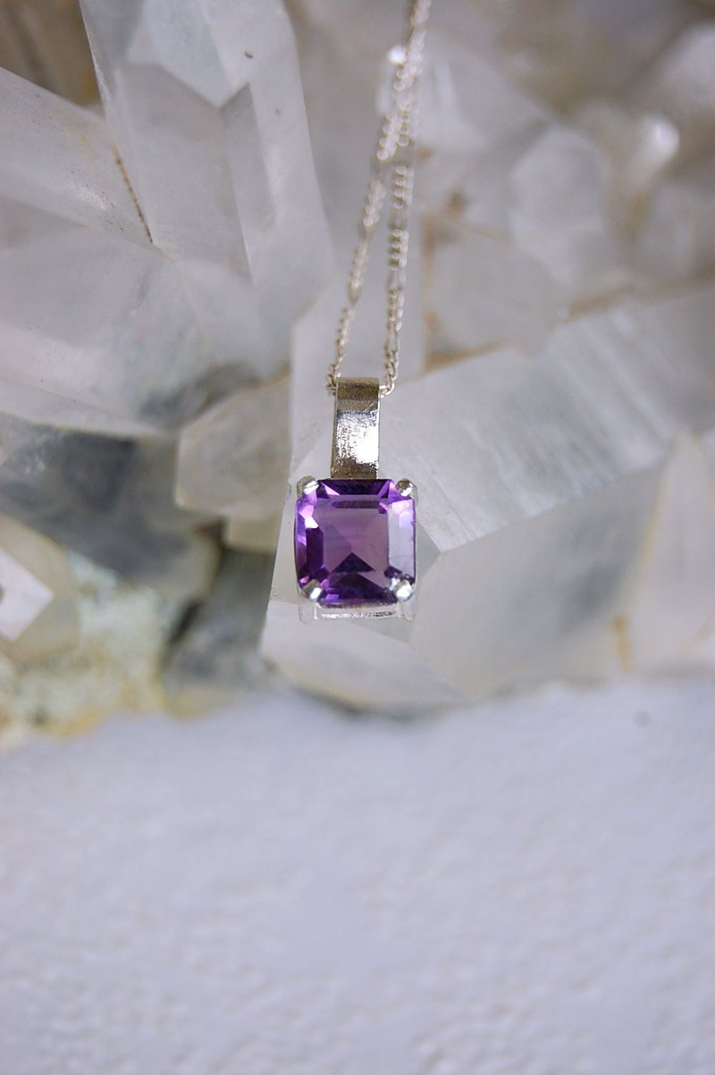 Amethyst silver necklace,