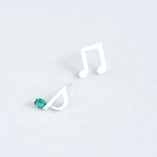 Emerald eighth note piercing silver 925