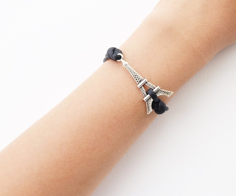 Eiffel bracelet in black , waxed cotton cord