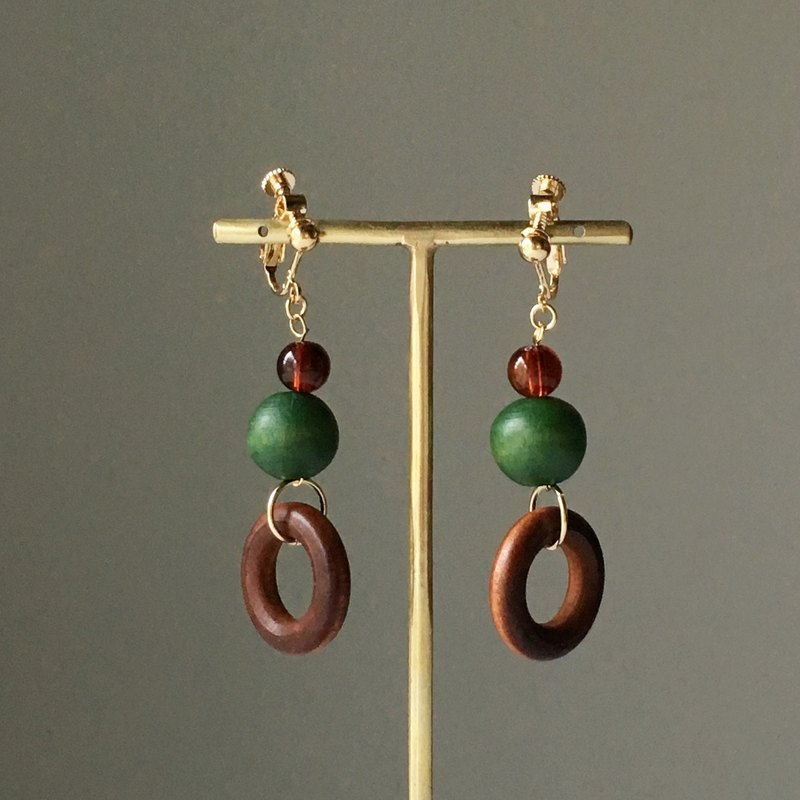 Wood Beads Earrings or Earrings 3
