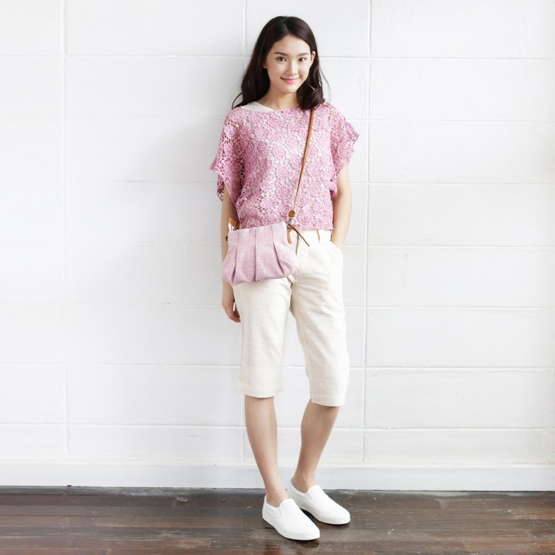 Pink Color Crossbody Bags Mini Skirt XS  Hand woven and Botanical dyed Cotton