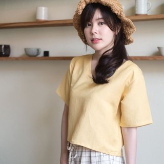 RIBBON CROP TOP - Yellow