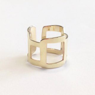 [Order production] ring / gold color rough square design <unisex> ※ 7-20 No.