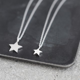 2 co set tiny star pair necklace silver 925