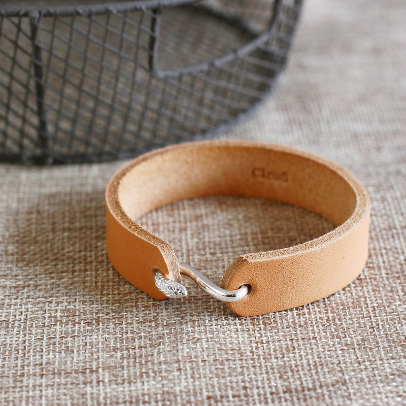 Snake hook leather men's bracelet