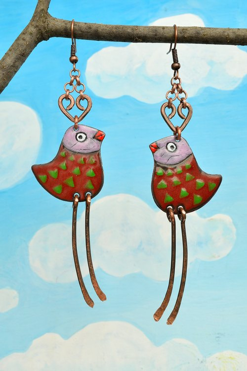 Jewelry, Earrings, Enamel, Enamel Earrings, Enamel Jewelry, Bird Earrings with Polka Dots, Bird Earrings, Enameled Earrings, Bird Jewelry, Polka Dots,