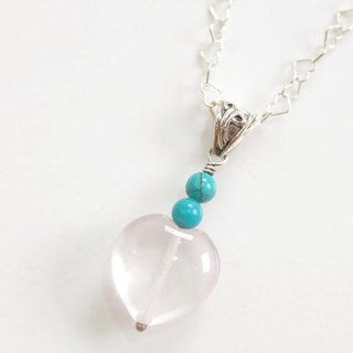 Silver necklace heart of rose quartz and turquoise