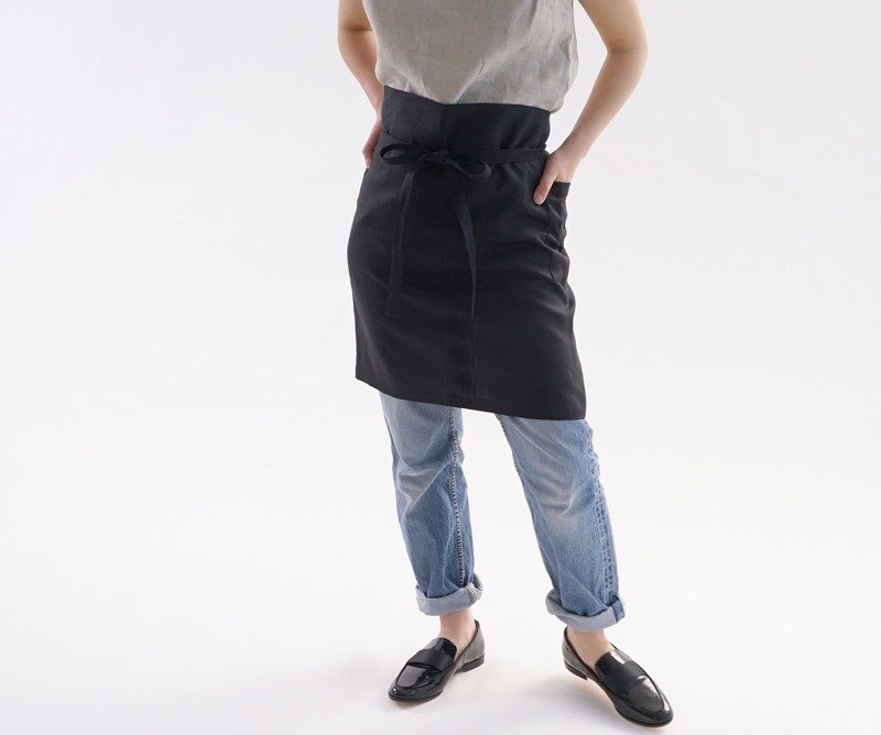 Belgium linen both sides 2 pocket work Salon apron / black c1-16