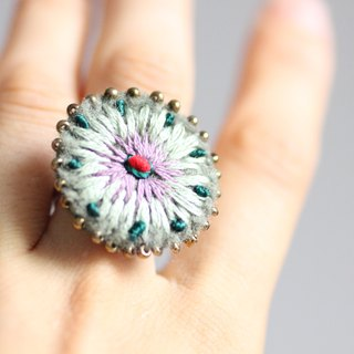 Dragon ring - fluffy felt motifs of green accented by pink