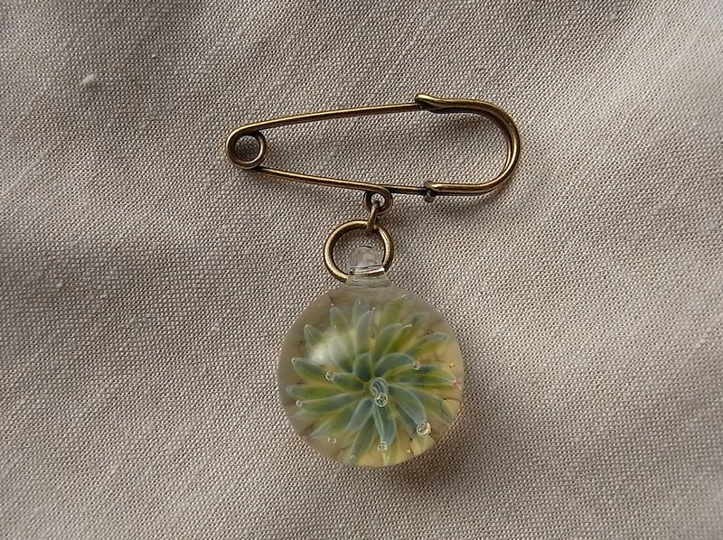 Succulent Brooch Aloe Green Glass Handmade