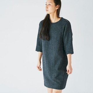 enrica herringbone dress black