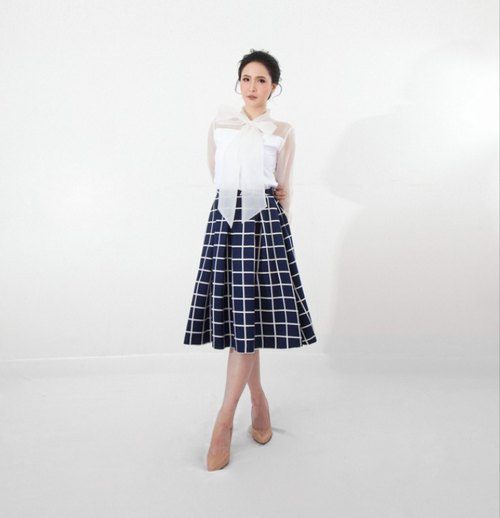 Navy Blue Checked Twist Skirt