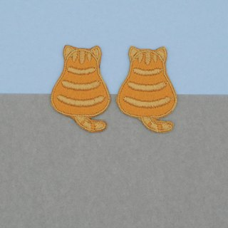 Mini Tabby Cat Iron Patch (Orange)