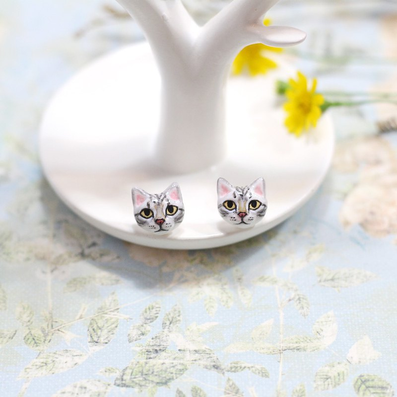 American Shorthair cat Earrings, Cat Stud Earrings, cat lover gifts