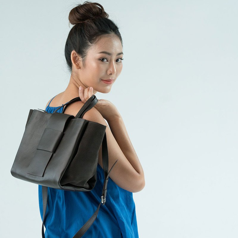 ABBA Stylish tote Bag closure with genuine leather, chocolate color