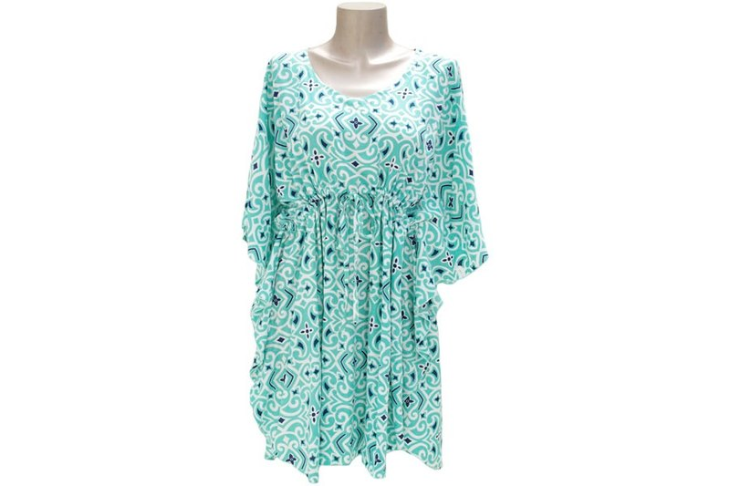 New! Ikat print butterfly sleeve dress <mint>