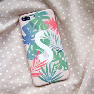 Tropical Leaves alphabet/initial iPhone case
