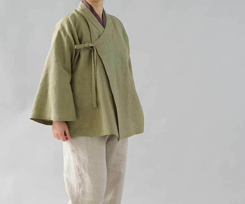wafu  warm linen cardigan / long bell sleeve / Japanese style / olive b37-9