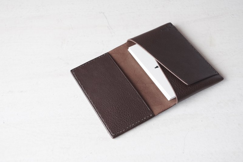 [Make-to-order production] Italian leather Business Card Case choco