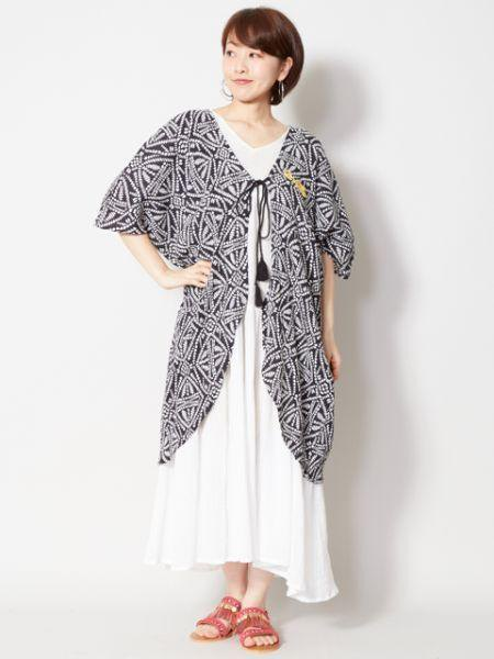 Geome Pattern Cotton Crepe Cardigan