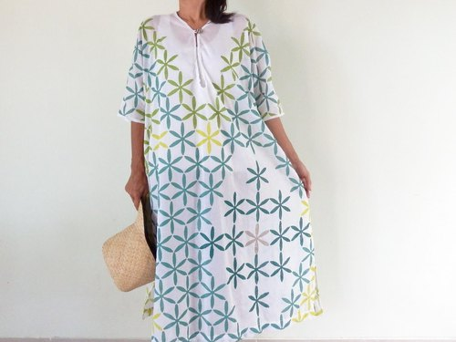 【Resale】 Cotton long shirt dress made from pattern