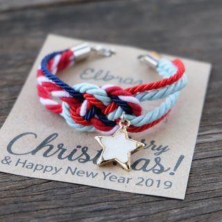 Infinity knot white star bracelet in red navy icy blue - Christmas bracelet