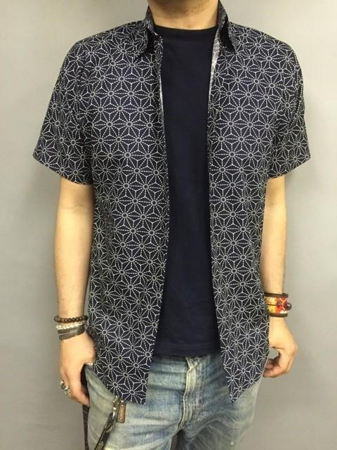 Short-sleeved shirt Japanese Pattern (hemp leaves A pattern)