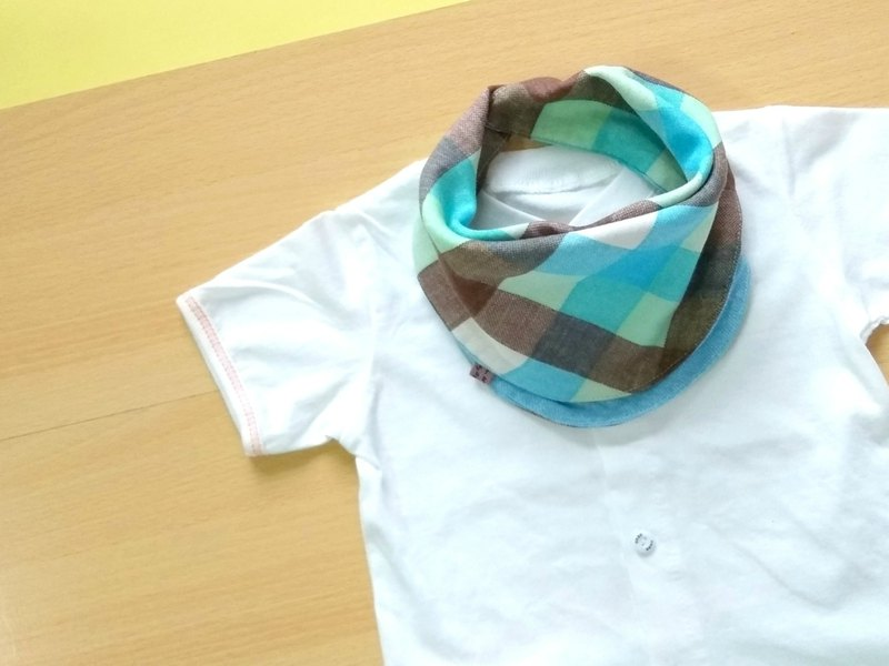 Baby Bandana Bib, 口水巾, Scarf Bib, Green Brown Plaids, Japanese Double Gauze