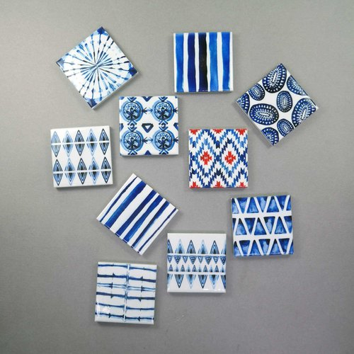 Bohemian Blue Patterned Fridge Magnet Indigo Blue Memo Holder (Set of 12)