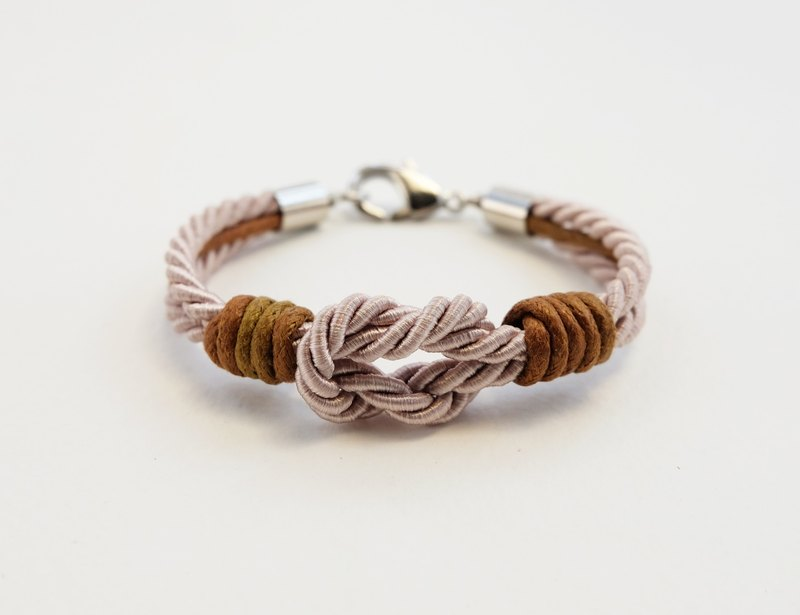 Light brown tie the knot bracelet with brown waxed cotton cord