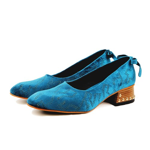 Queenie W1061 JudeBlue  Velvet  pumps