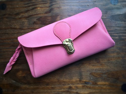 Italian leather wallet series-envelope fuchsia