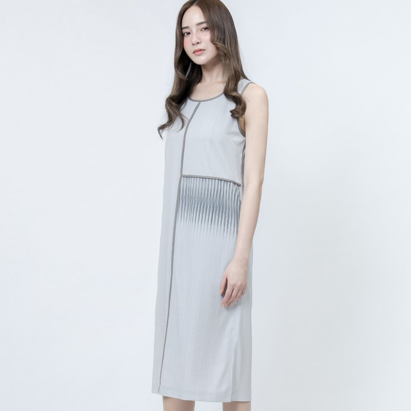 折射印花洋装 Grey Refraction Patterns Printed Dress