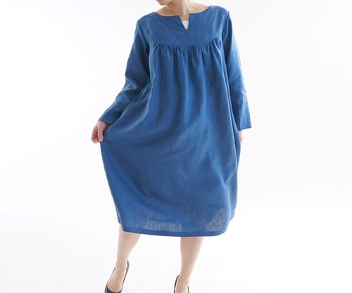 Belgium linen before slit round yoke dress / Blue Malines a33-5