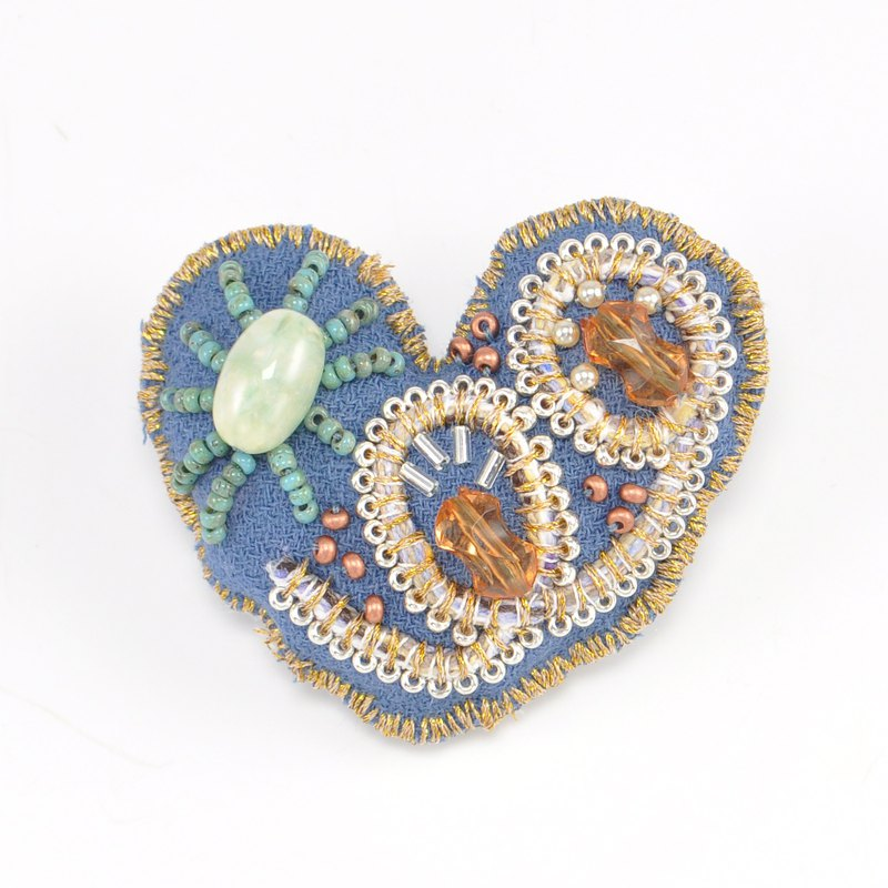 Heart shaped brooch, colorful brooch, embroidered statement brooch, blue 5