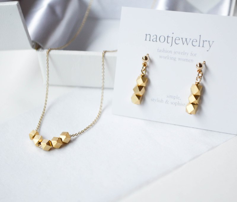 Earrings & Necklace set / Metal Cut Silver Beads Set (matte gold)