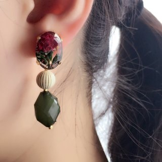 Botanical jewelry parts and big tortoise pierced earrings*Rose green*PCM0011