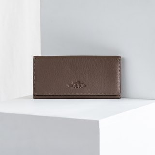 POPPY - WOMAN LONG LEATHER WALLET- TAUPE/BROWN