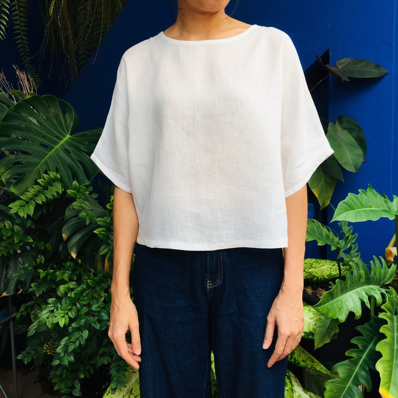 White Oversize Short Sleeves Blouse