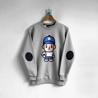 【BestFriend】ONIGIRI-BOY Long Sleeve Sweat / 长袖大学T (灰)