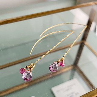 Elegant Ruby and Amethyst pierces