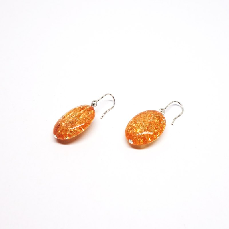 Orange crystal earrings SV925【Pio by Parakee】橙色水晶耳環