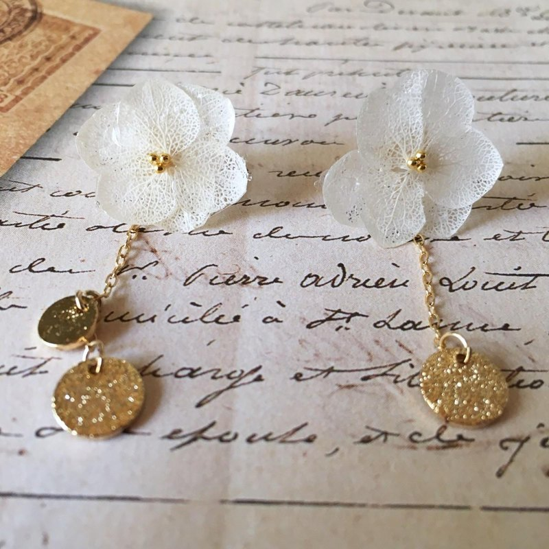 *White*Hydrangea and gold plate earrings