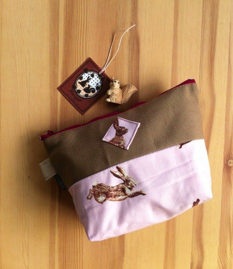 "cute brown handmade ""RUN BUNNY RUN"" cotton and canvas pouch / clutch / bag / pencil case / makeup bag"